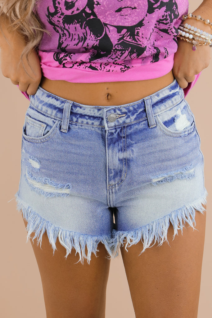 Away For The Summer Denim Shorts