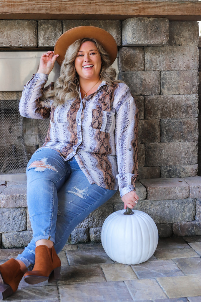 CURVY: Keep You Forever Button Down Blouse