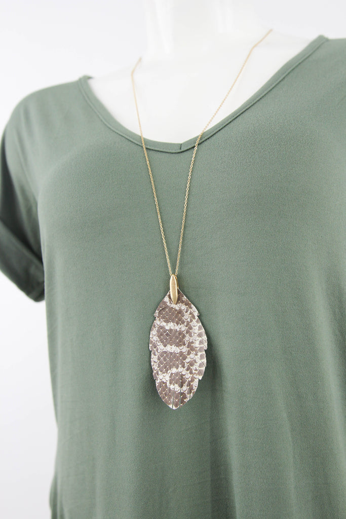 Leather Animal Print Necklace