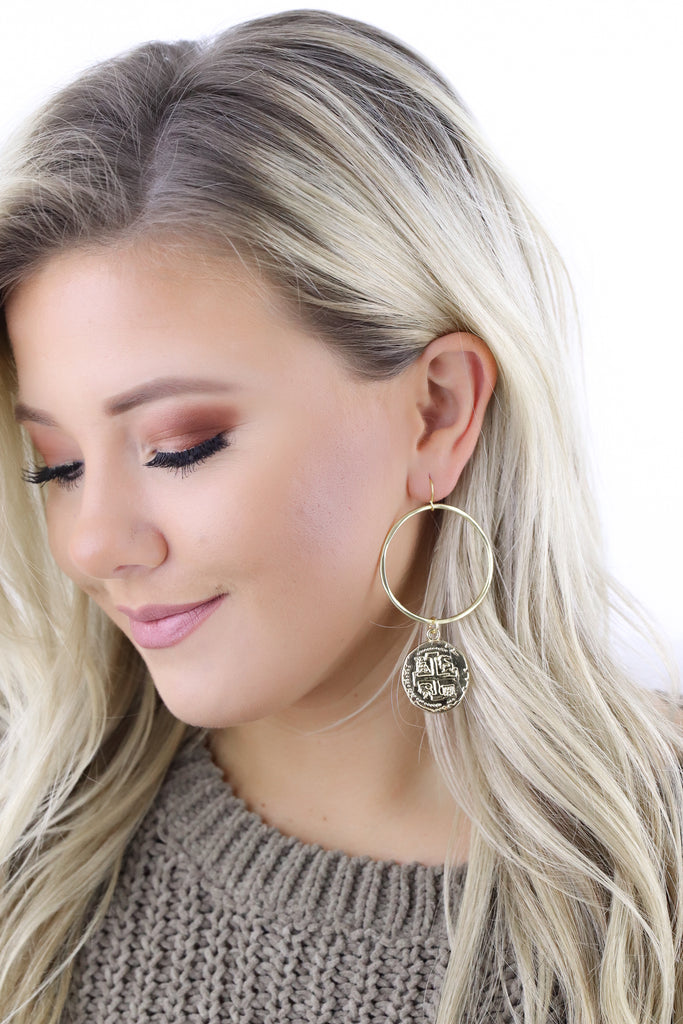 Jennifer Thames Gold Coin Earrings