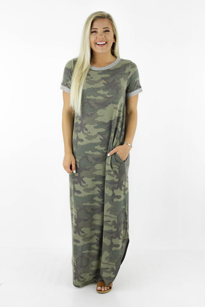 Be With Me Camouflage Print Maxi Dress
