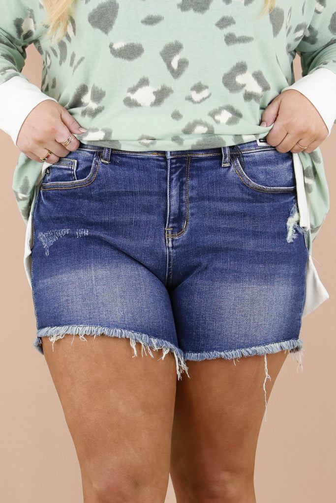 CURVY: Not To Blame Mid Rise Denim Shorts