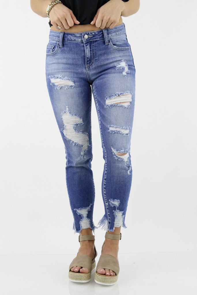 CELLO: Lucky In Love Ankle Cutout Skinny