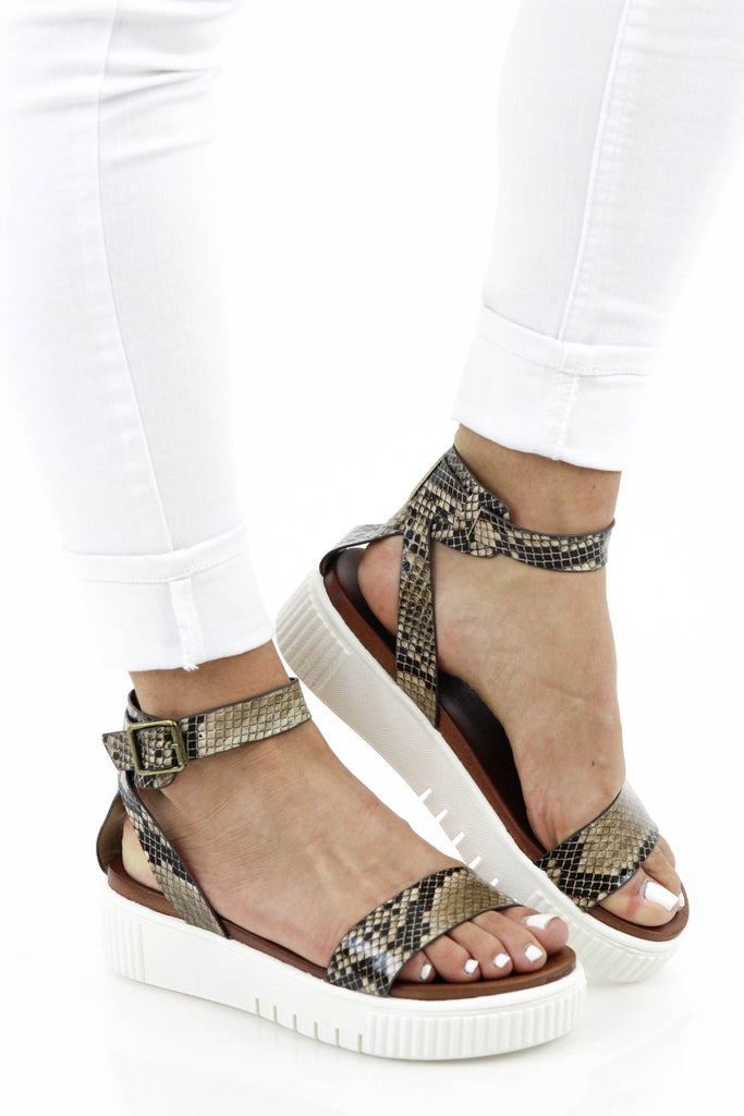 Somewhere New Snake Print Platform Sandal