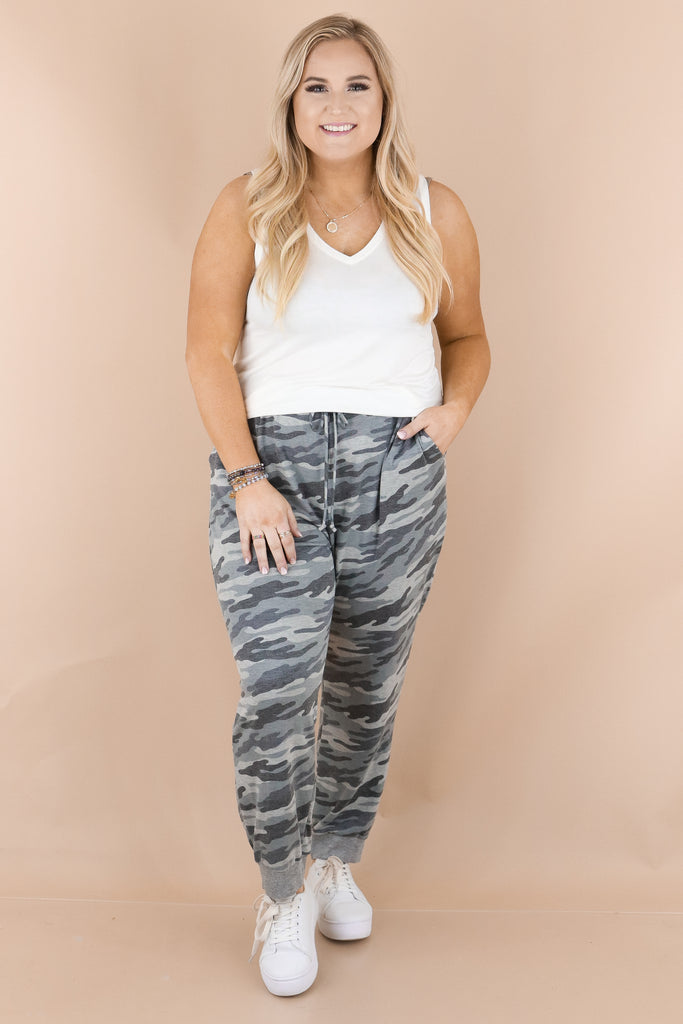 CURVY: Stays On My Mind Camouflage Joggers