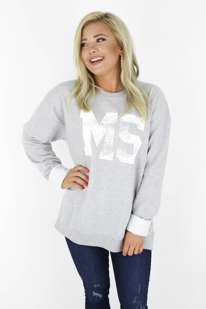 RESTOCK: MS Distressed Graphic Pullover