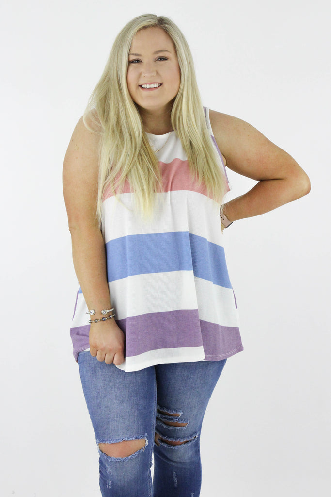 CURVY: No Second Thoughts Stripe Tank Top