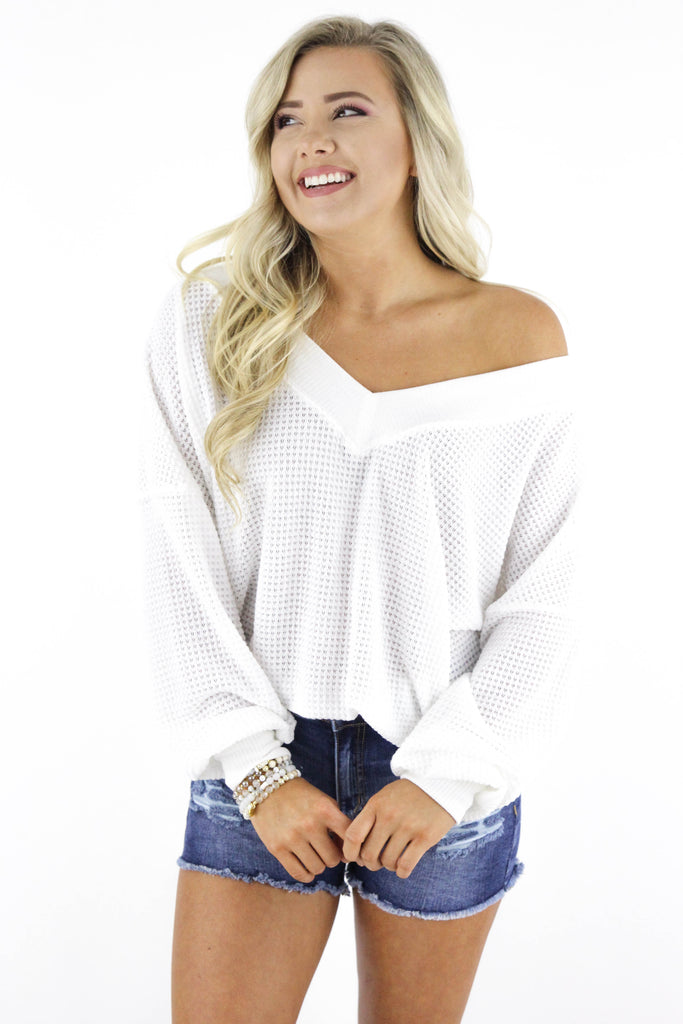 Won't Stop For Anything Waffle Knit Long Sleeve Top