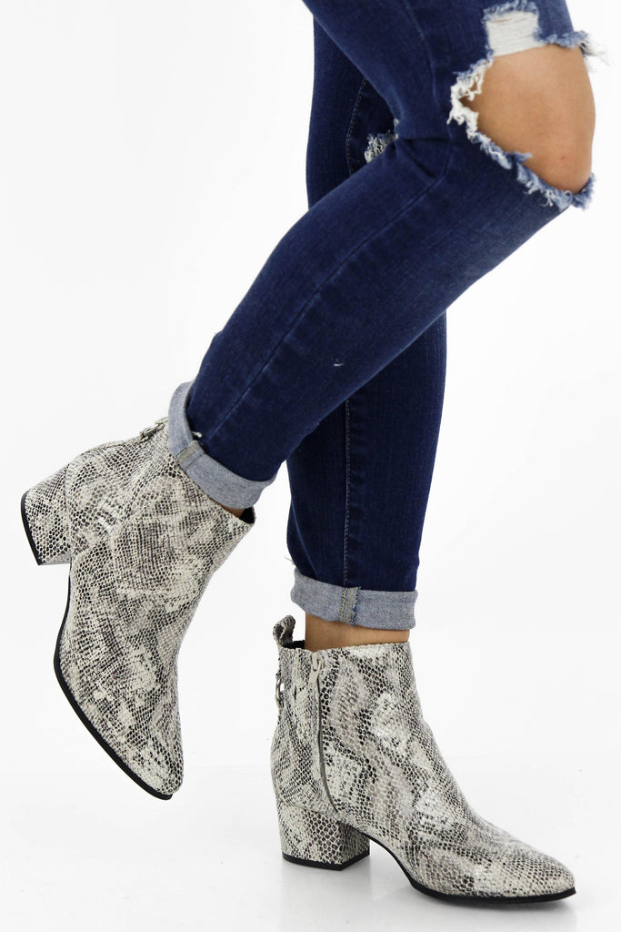 Feeling Rushed Snake Print Booties