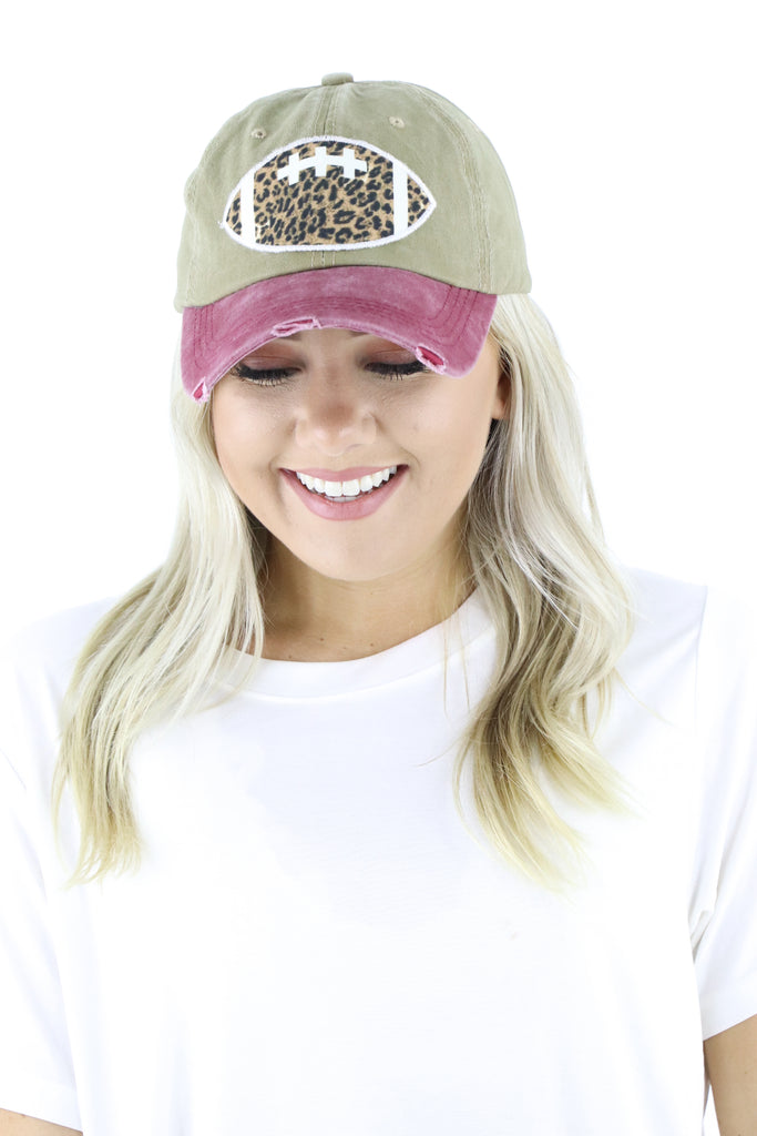 Leopard Football Patch Distressed Hat