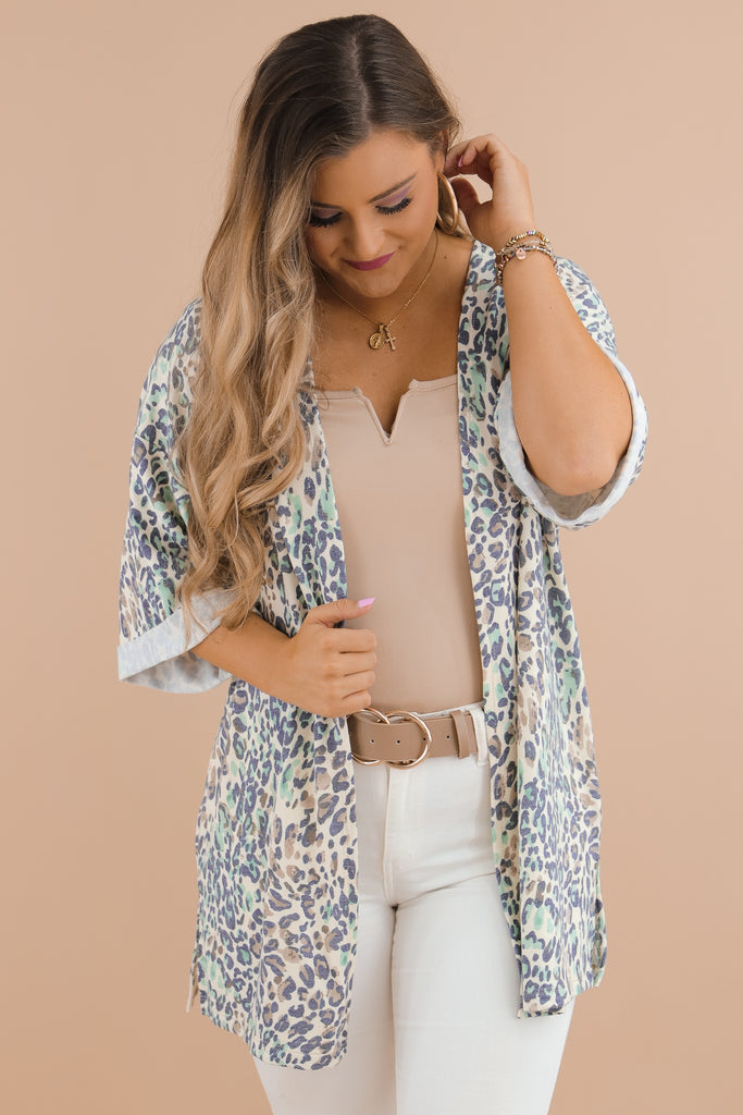 Trade The World Cheetah Print Kimono