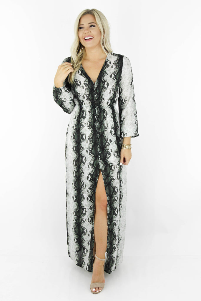 Tell The Truth Snake Print Maxi Dress