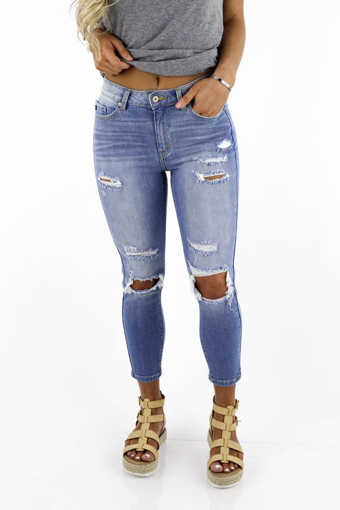 I Could Never Leave High Rise Capri Jeans