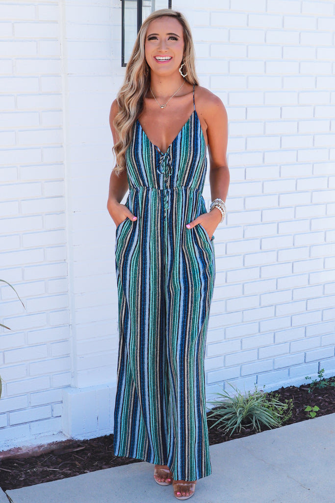 About That Life Striped Jumpsuit
