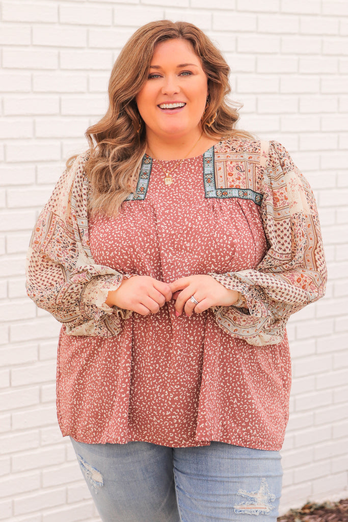 CURVY: All Around The World Printed Blouse