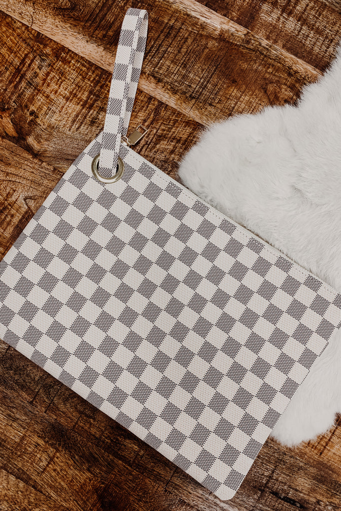 Checkered Oversized Clutch/Wristlet