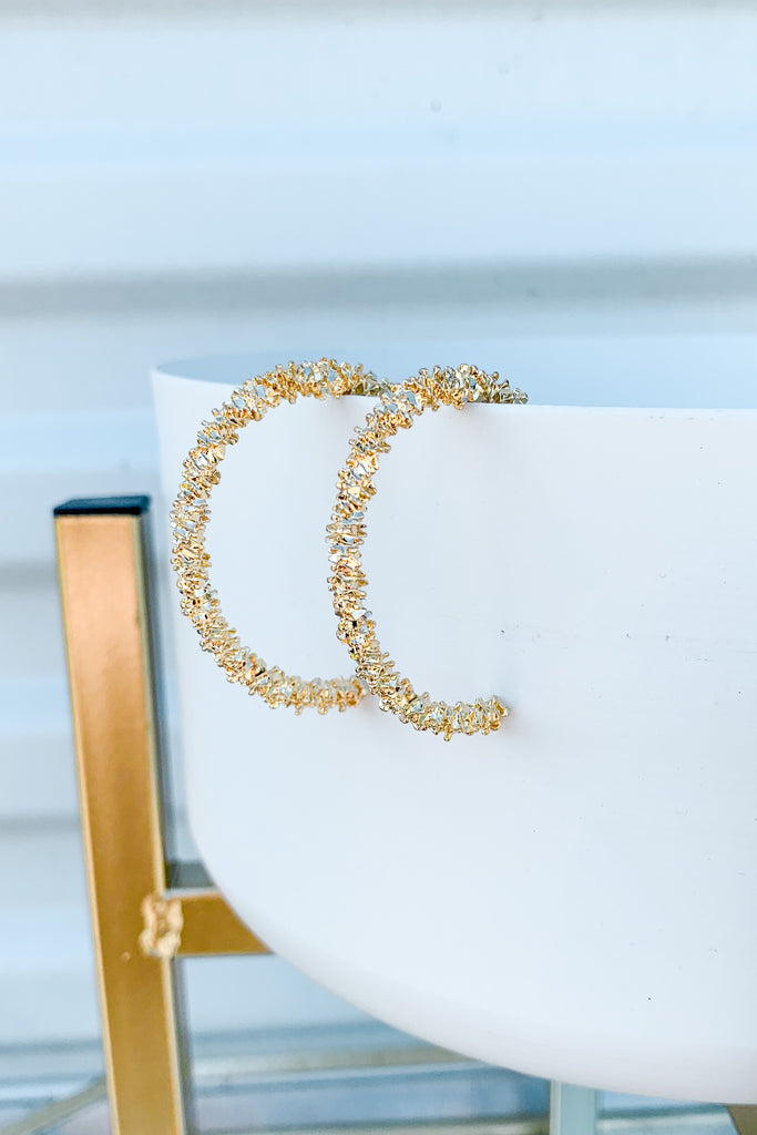 Textured Metal Open Hoop Earrings