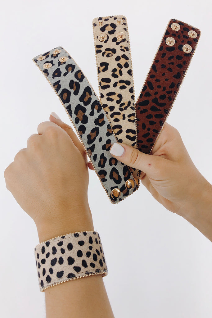 Animal Print Cowhide Bracelet: Available in 4 Colors