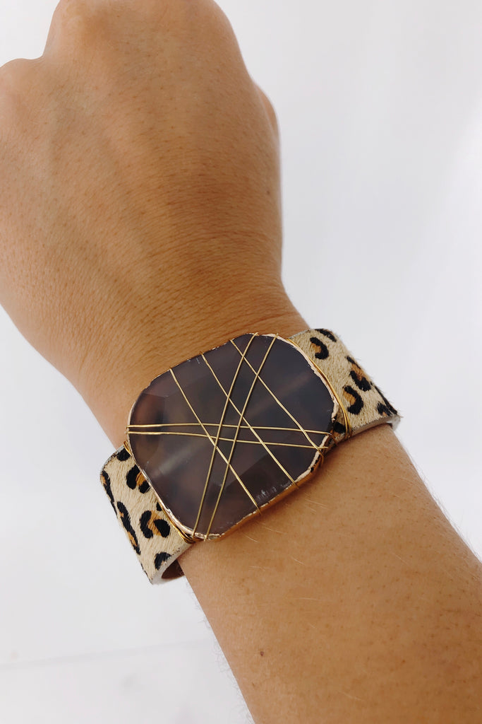 Leather & Agate Stone Bracelet: Available in 2 Colors