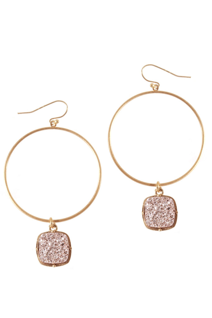 RESTOCK: Faux Druzy Drop Hoop Earrings