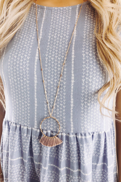 RESTOCK: Gold Beaded Hoop Pink Tassel Necklace
