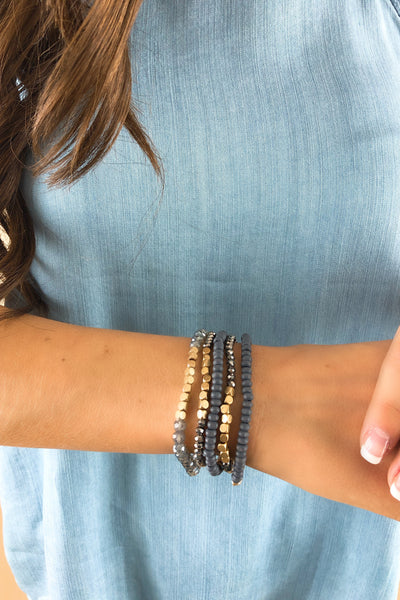 RESTOCK: Gold Nugget Stretch Bracelet Set: Available in 3 Colors
