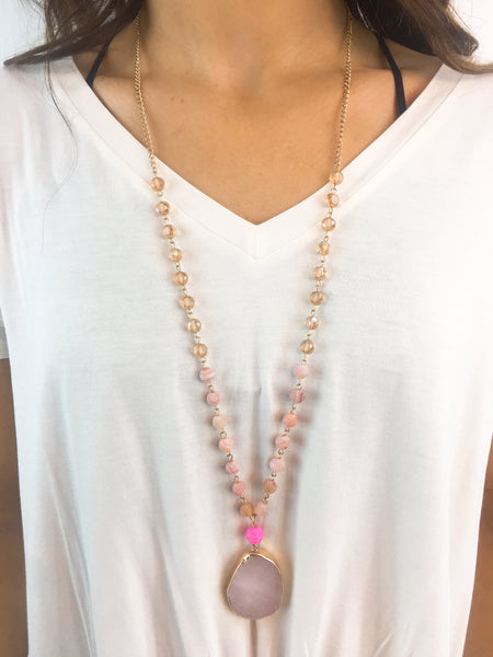 Hint Of Radiance Teardrop Pendant Necklace: Light Pink