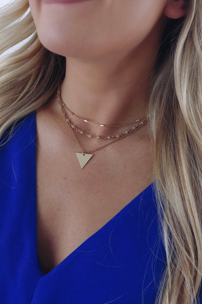Worn Gold Triple Layer Triangle Necklace
