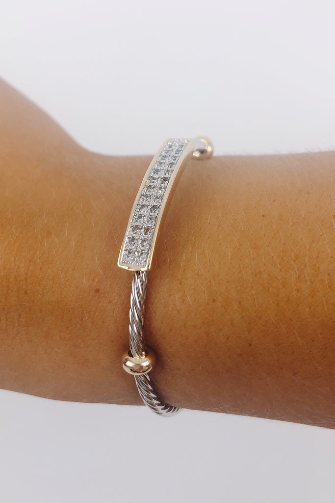RESTOCK: DY Inspired Crystal Bar Wire Bangle