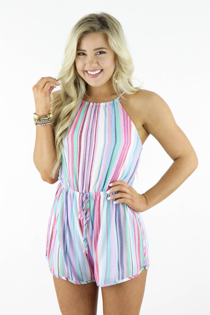 Meet Me There Striped Romper