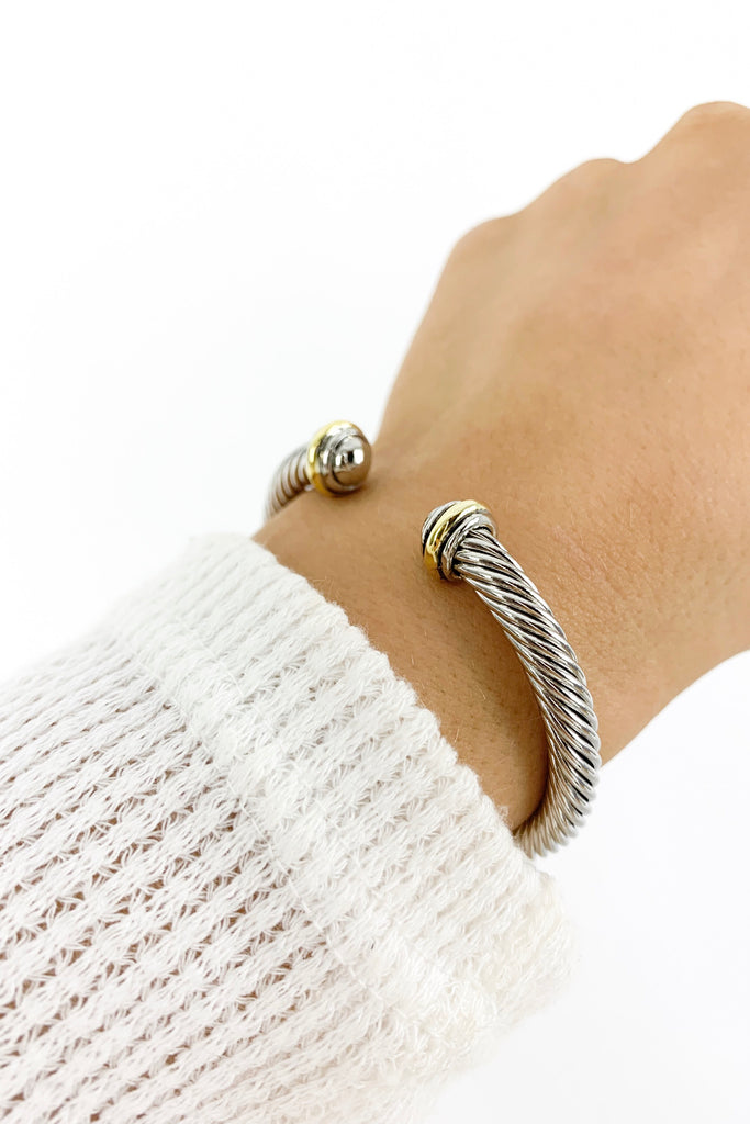 Metal Cable Wire Cuff Bracelet