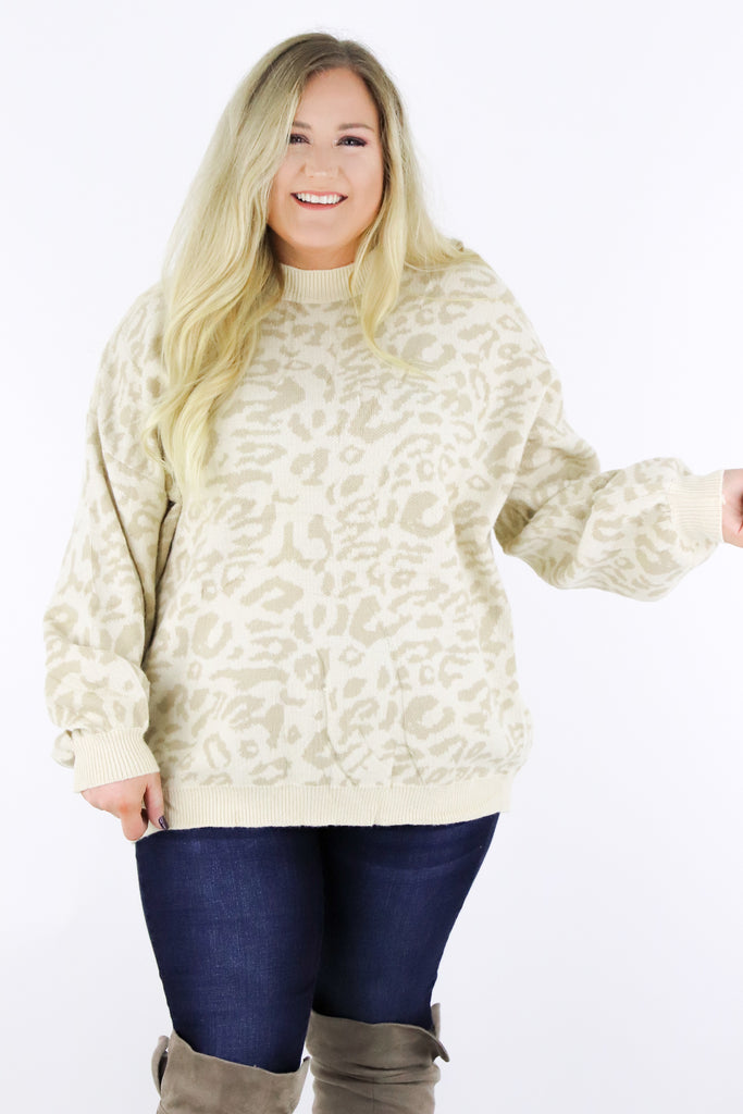 CURVY: Go For Cozy Leopard Sweater
