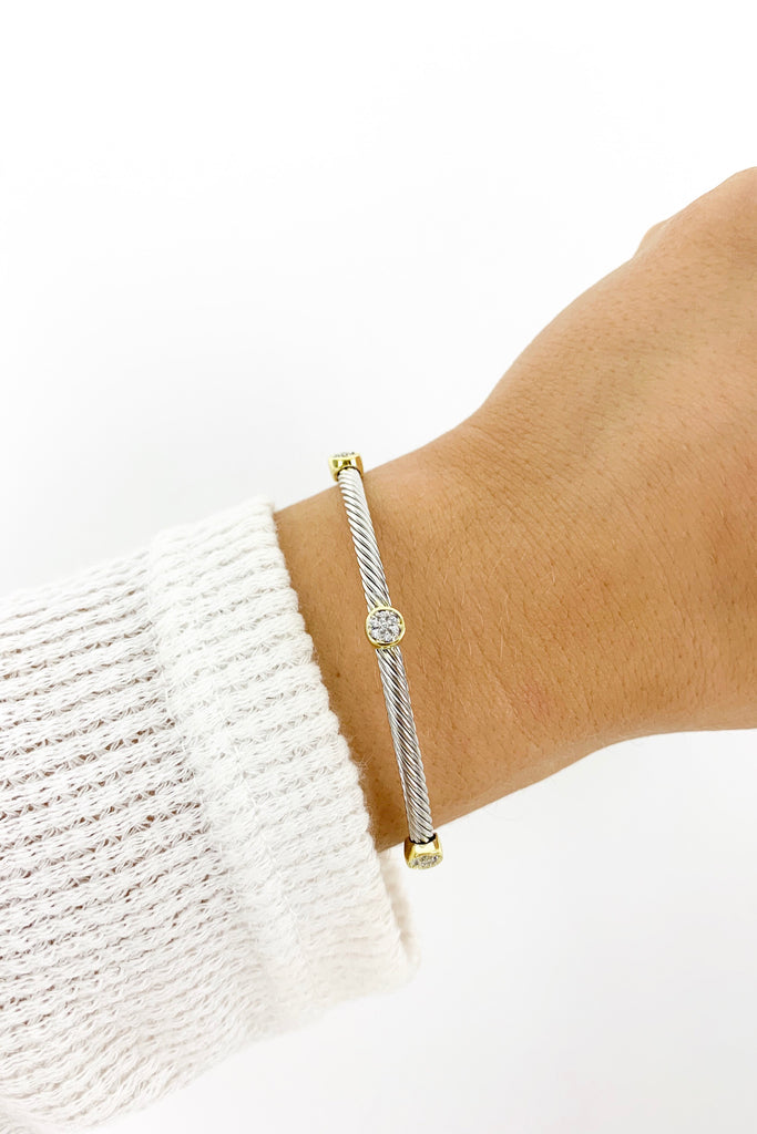 Paved CZ Circle Cable Cuff Bangle