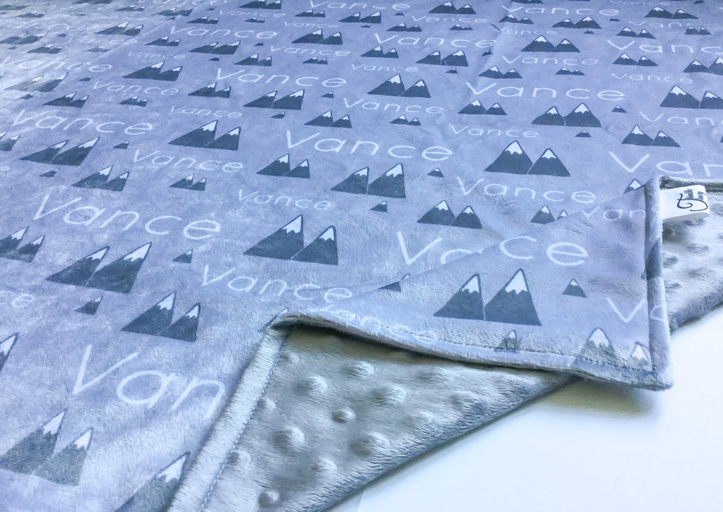 """Mountains"" - Personalized Double Sided Blanket"