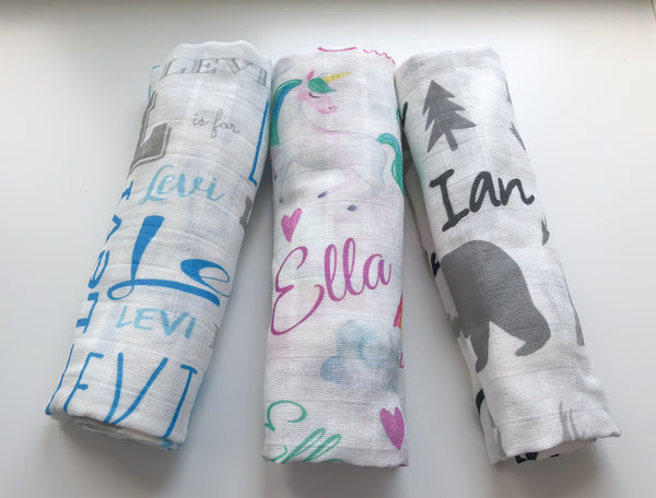 Personalized Cotton Muslin Swaddle Blankets