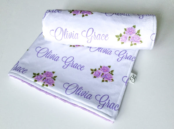 """Rose""- Personalized Double Sided Minky Blanket"