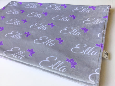 """Bows""-Personalized Double Sided Minky Blanket"