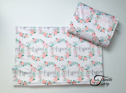 """Floral Wreath""- Personalized Double Sided Minky Blanket"
