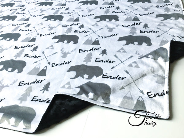 """Woodland""- Personalized Double Sided Blanket"