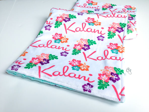 """Hawaiian Hibiscus""- Personalized Double Sided Blanket"