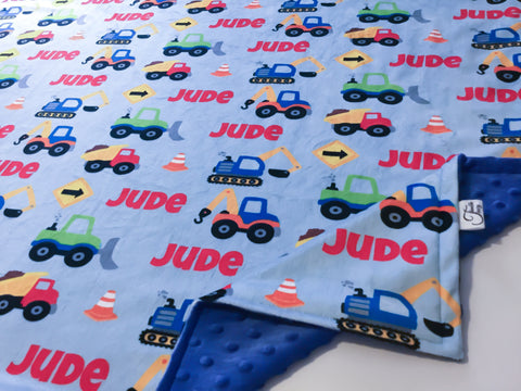 """Construction Trucks""- Personalized Double Sided Minky Blankets"