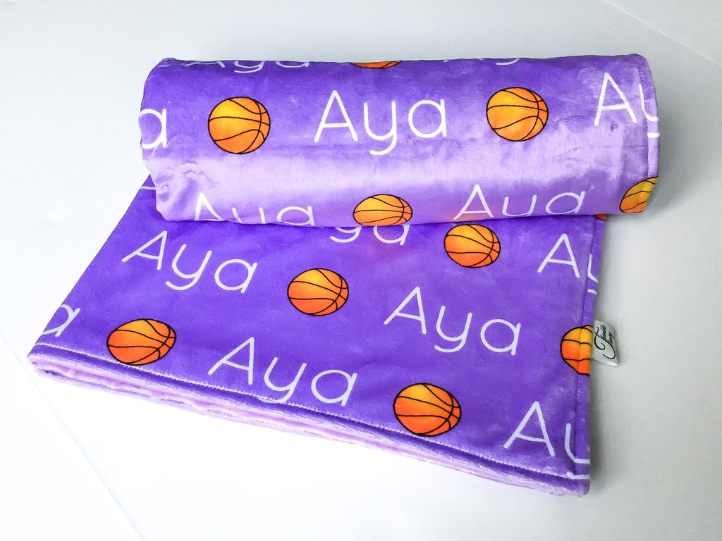 """Basketball""- Personalized Double Sided Minky Blanket"