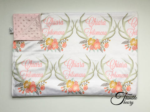 """Floral Antler""- Personalized Double Sided Minky Blanket"