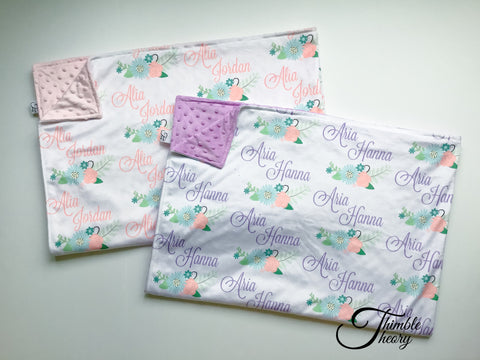 """Floral Garland""- Personalized Double Sided Minky Blanket"