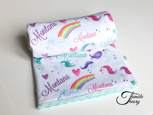 """Unicorn""- Personalized Double Sided Blanket"