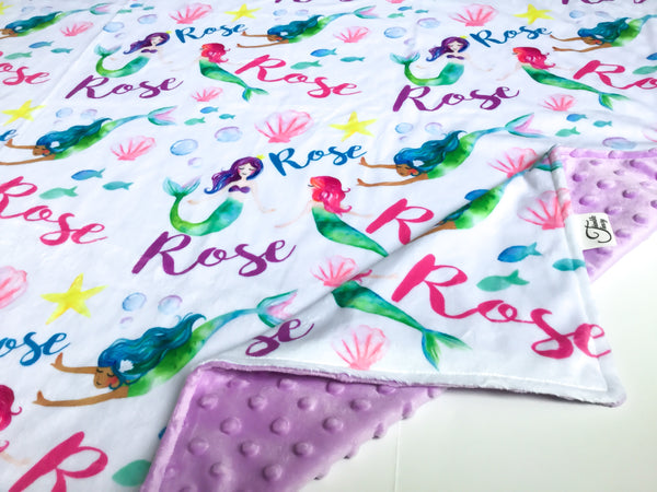 """Mermaids""- Personalized Double Sided Blanket"