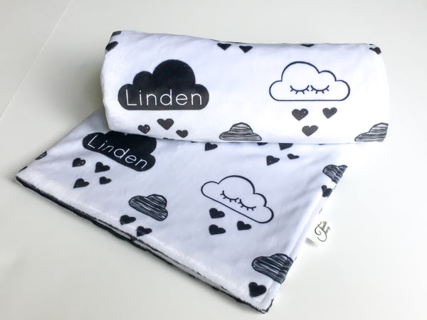 """Sleepy Rain Clouds""- Personalized Double Sided Name Blanket"