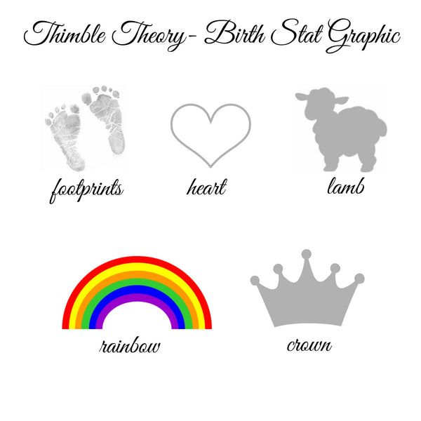Baby Birth Stat Pillow-  Thimble Theory Original Design©