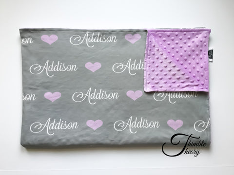 """Hearts""- Personalized Double Sided Minky Blanket"