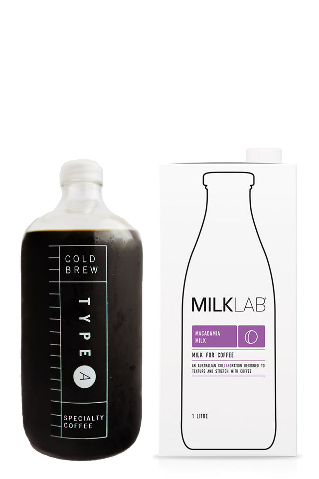 Type A Cold Brew Coffee Concentrate with Milklab Macadamia Milk
